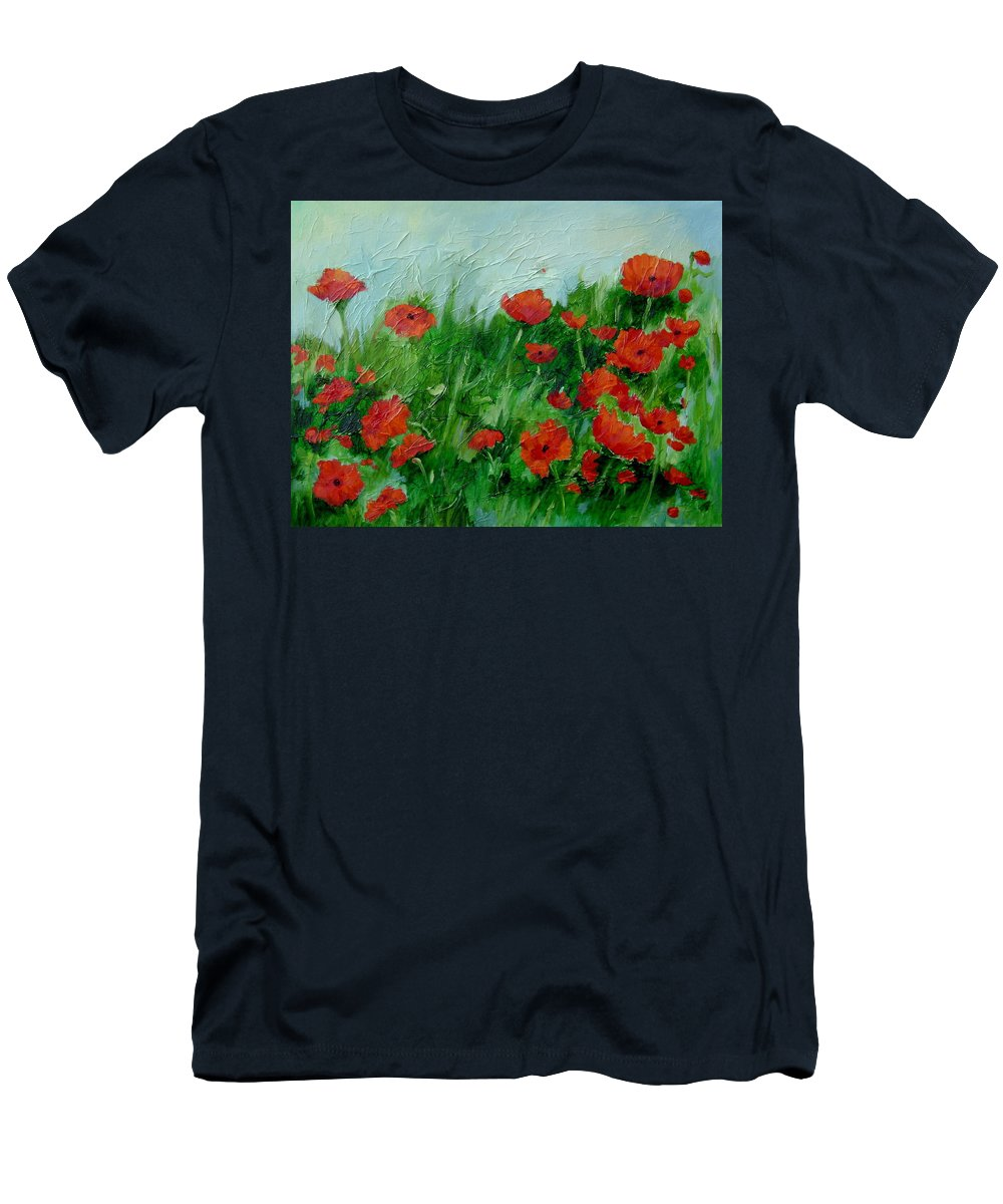 Red Poppies Men's T-Shirt (Athletic Fit) featuring the painting Summer Poppies by Ginger Concepcion