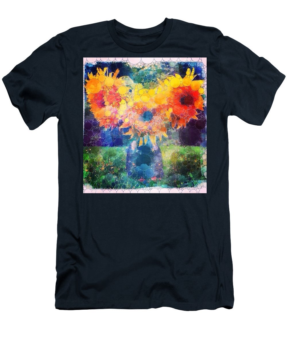 Sunflowers Men's T-Shirt (Athletic Fit) featuring the digital art Sunflower Mosaic by Mo Barton