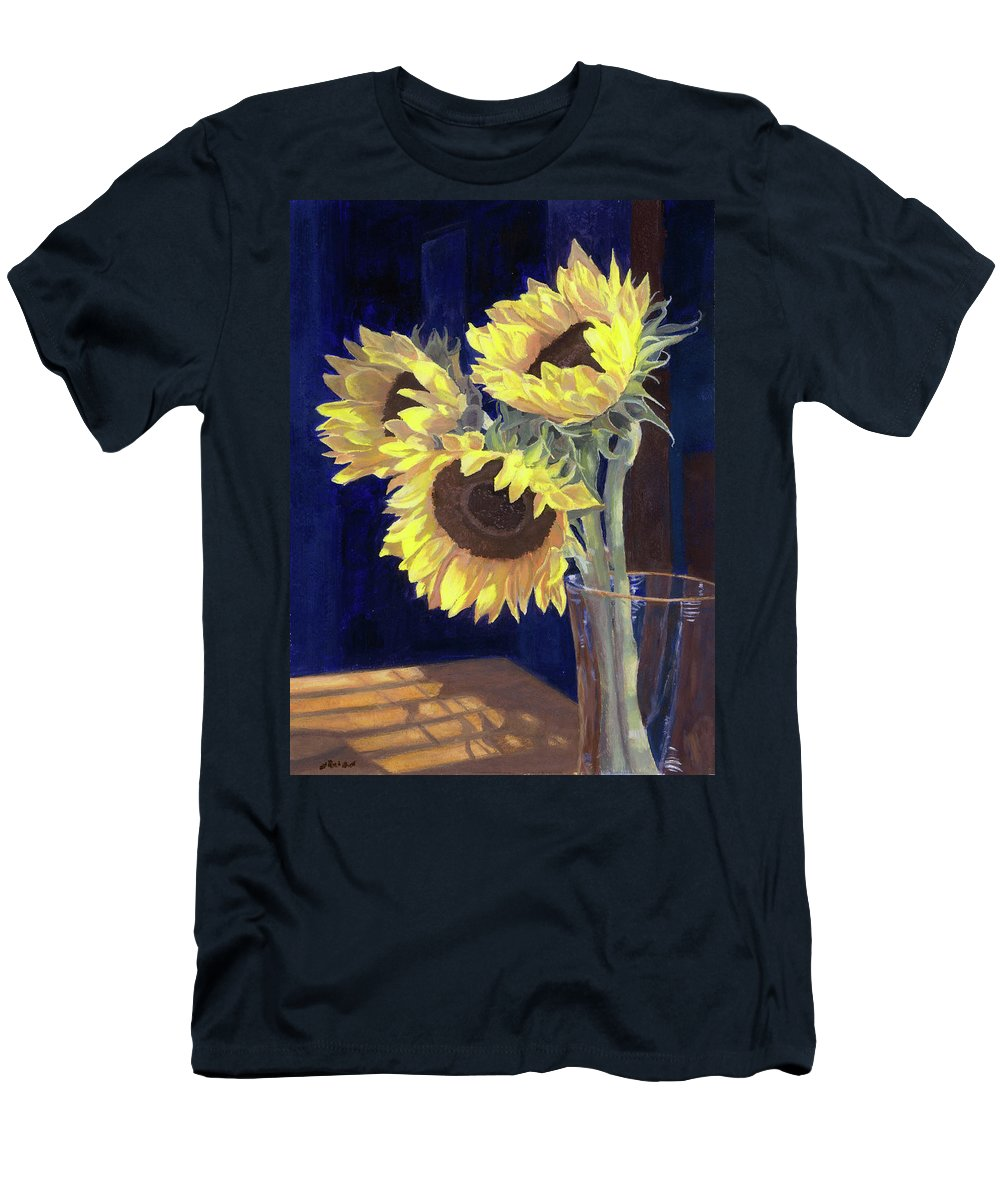 Sunflowers Men's T-Shirt (Athletic Fit) featuring the painting Sunflowers And Light by Lynne Reichhart