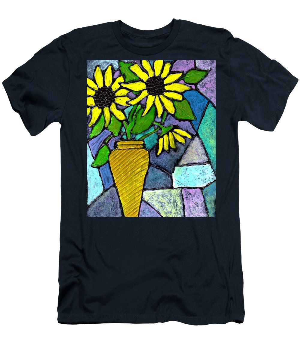 Flowers Men's T-Shirt (Athletic Fit) featuring the painting Sunflowers In A Vase by Wayne Potrafka