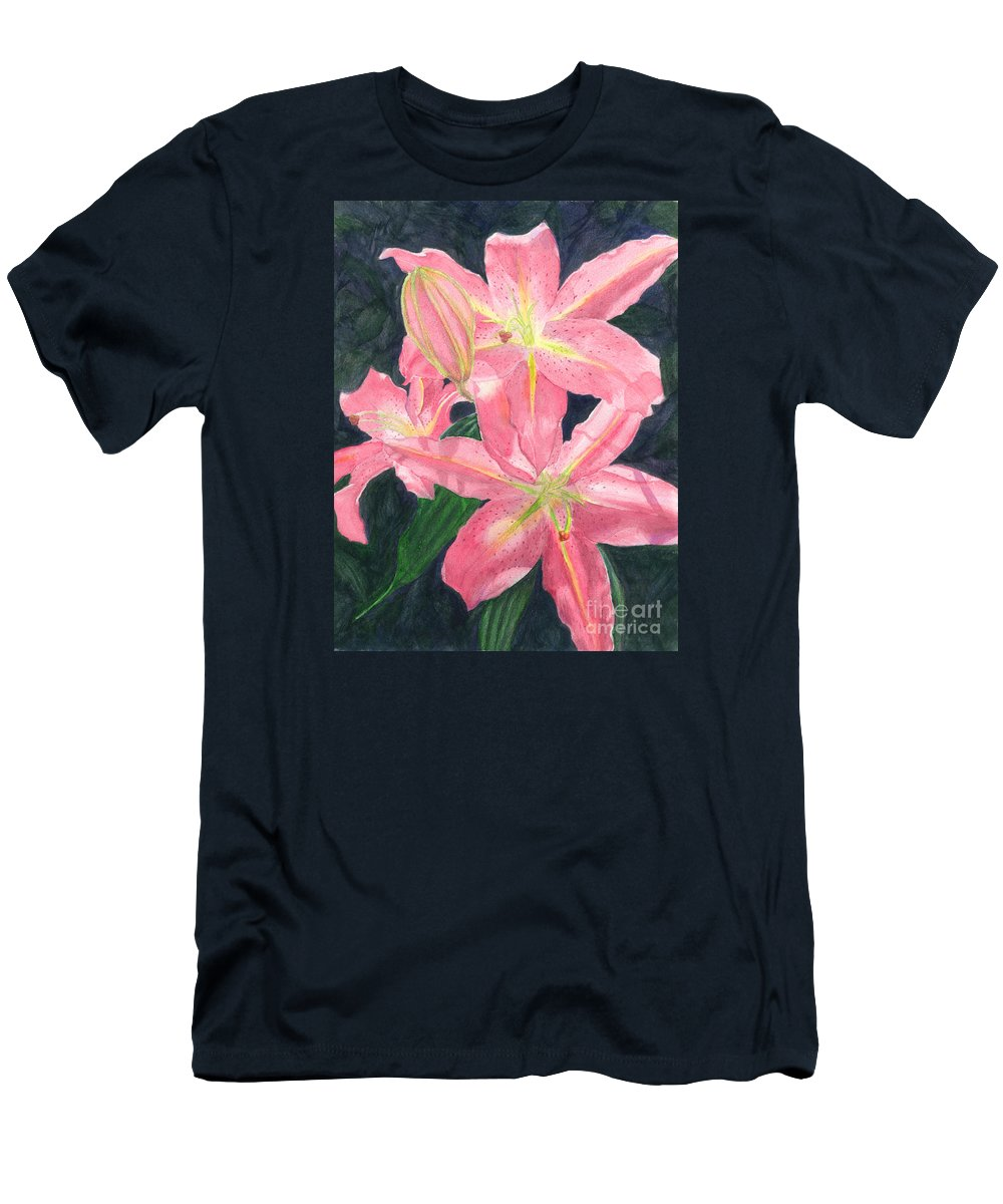 Floral Men's T-Shirt (Athletic Fit) featuring the painting Sunlit Lilies by Lynn Quinn