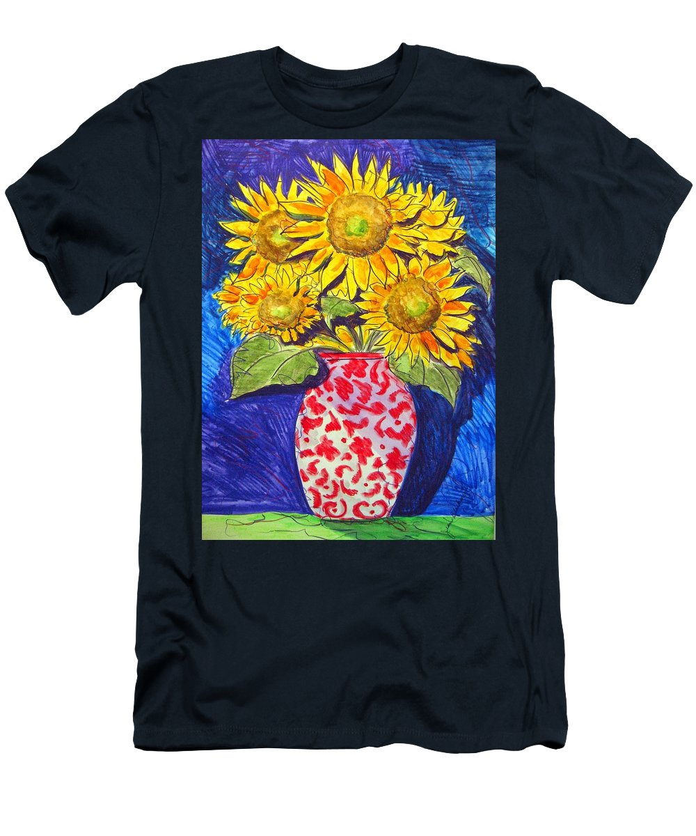 Sunflower Men's T-Shirt (Athletic Fit) featuring the painting Sunny Disposition by Jean Blackmer