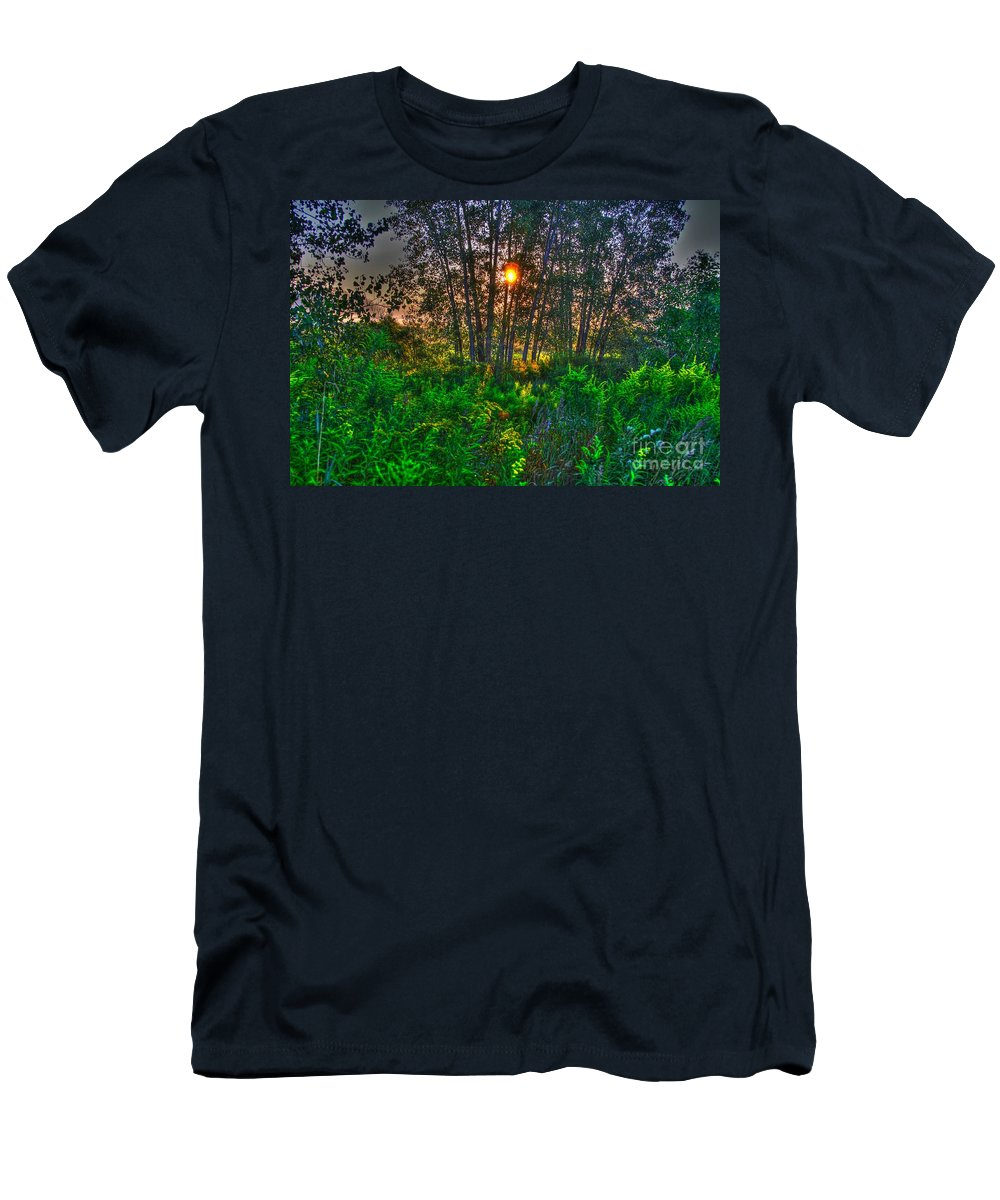 Related Tags: Men's T-Shirt (Athletic Fit) featuring the photograph Sunrise In The Swamp-4 by Robert Pearson