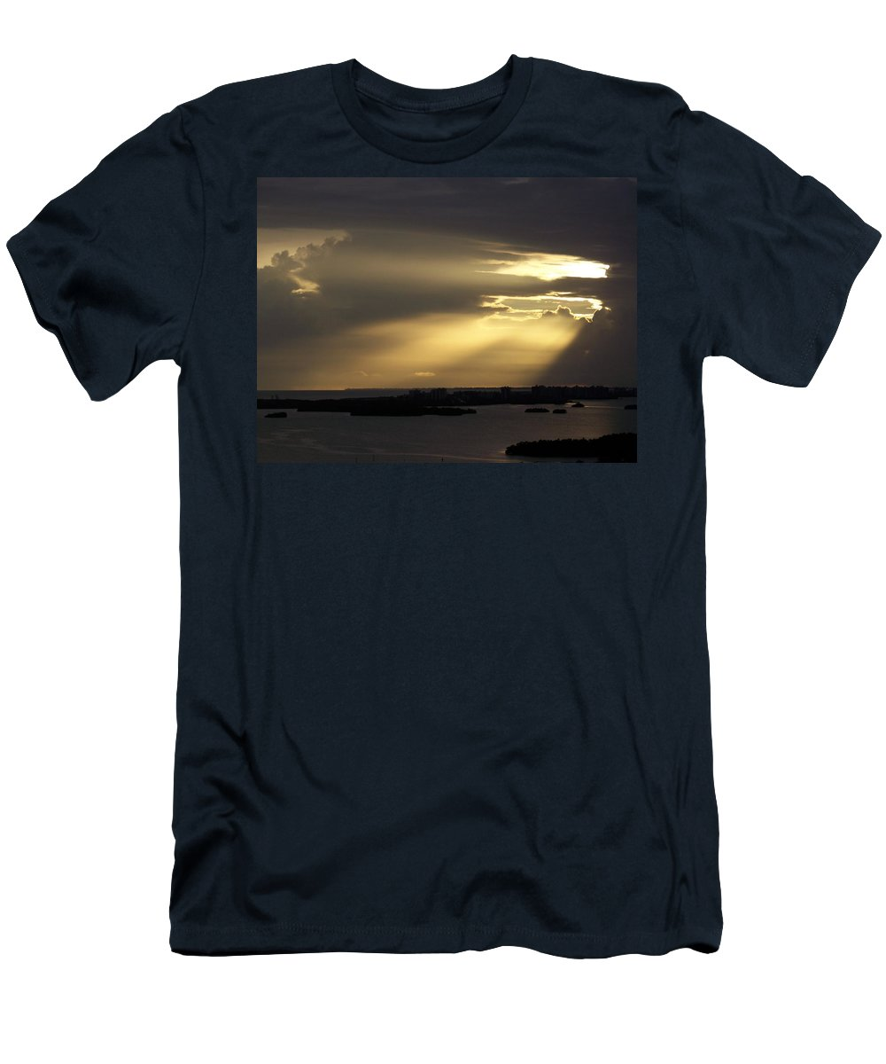 Sunset Over Estero Men's T-Shirt (Athletic Fit) featuring the photograph Sunset 0006 by Laurie Paci