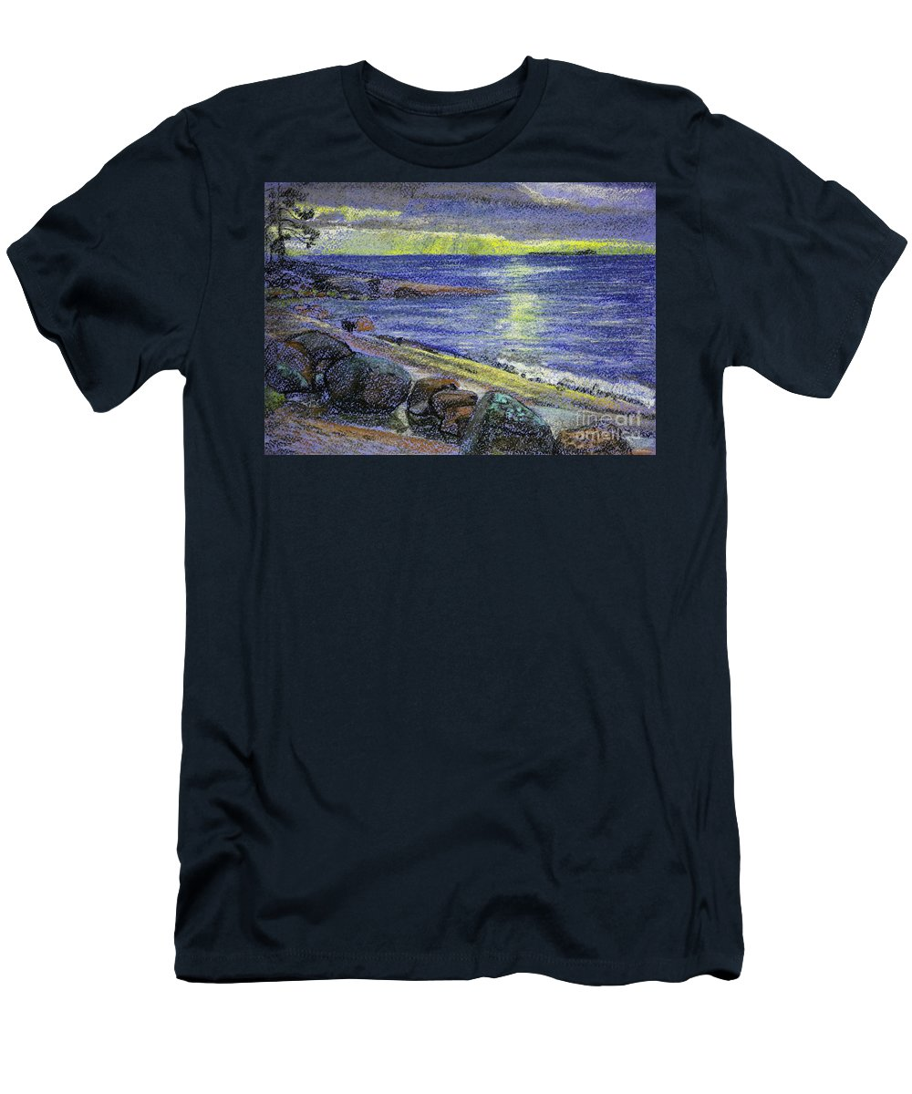 Landscape Men's T-Shirt (Athletic Fit) featuring the drawing Sunset by Anna Vasilkova