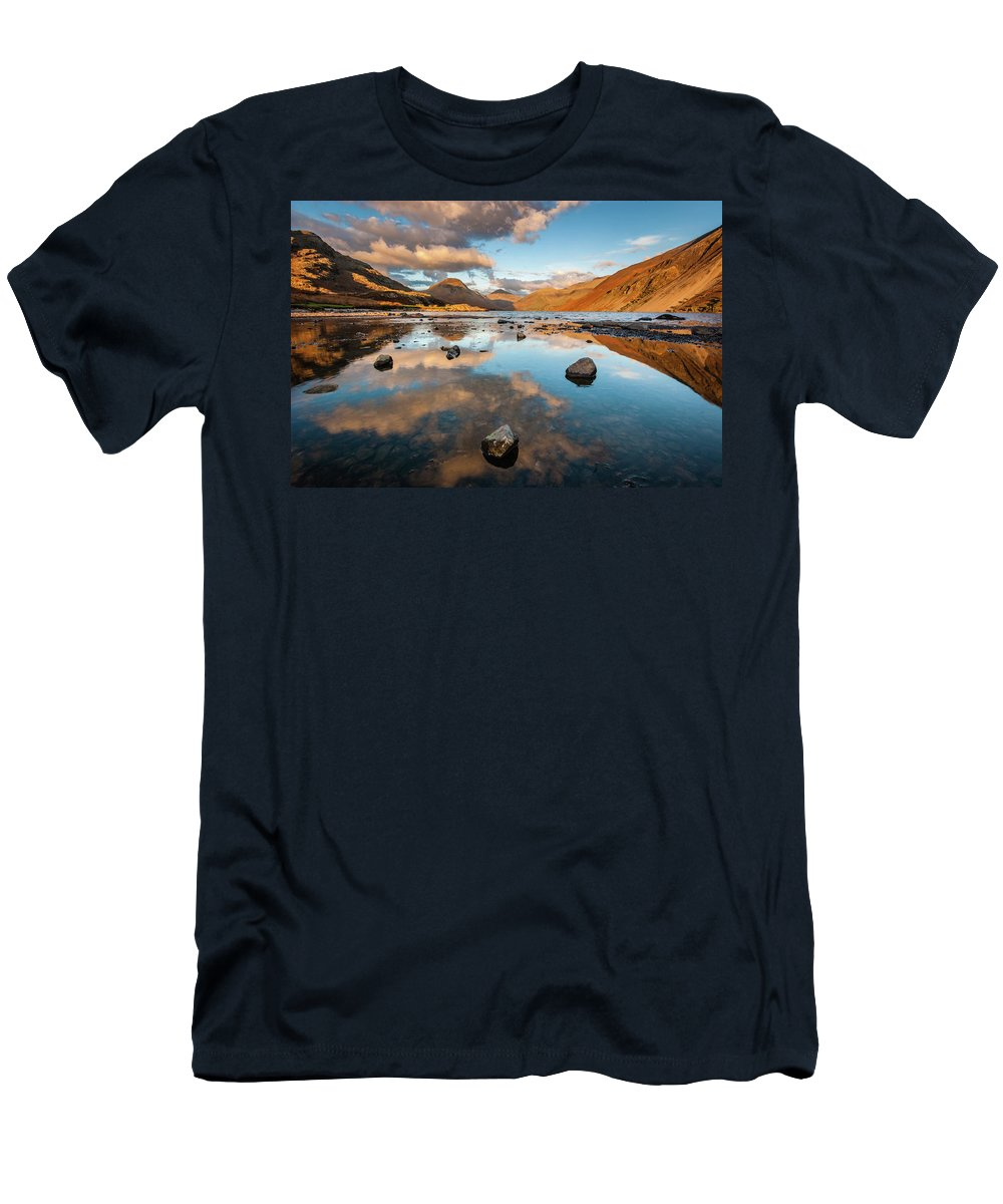 Sunrise Men's T-Shirt (Athletic Fit) featuring the photograph Sunset At Wast Water #3, Wasdale, Lake District, England by Anthony Lawlor