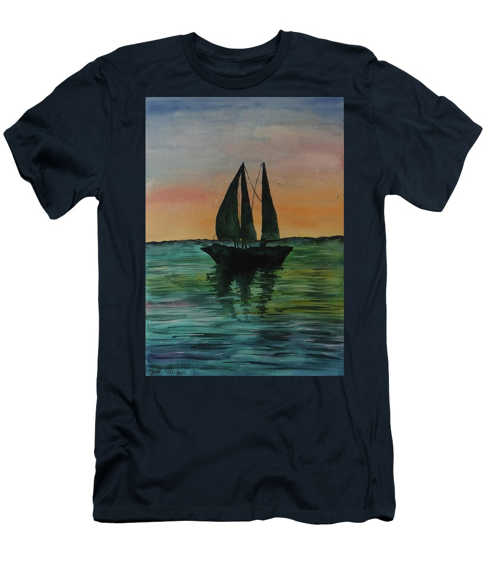 Watercolor Color Painting Boat Sea Ocean Sky Sunset Creative Art Calm Relax Quite Nice Men's T-Shirt (Athletic Fit) featuring the painting Sunset Boat 2 by Yael Ungar