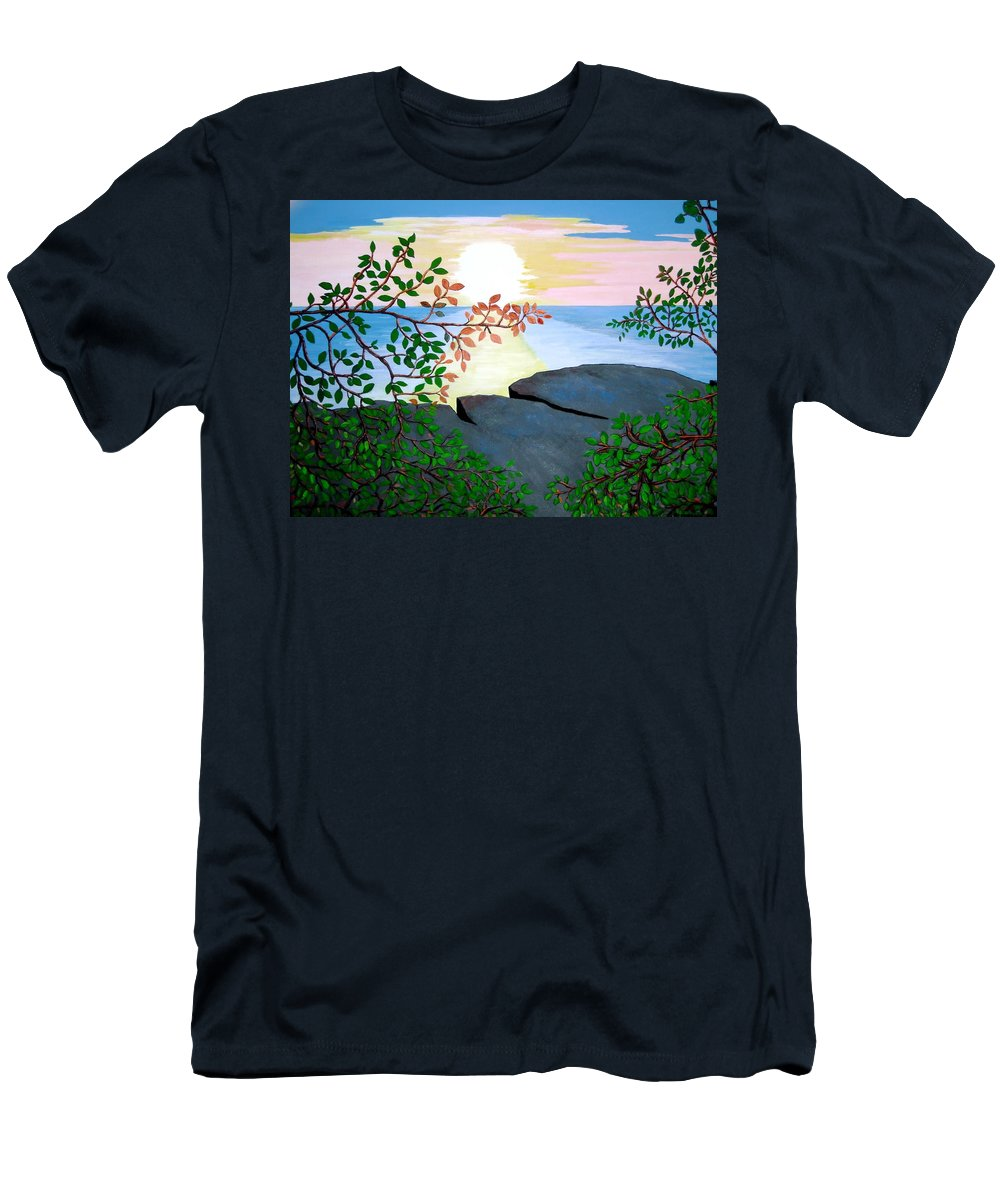 Rocks Men's T-Shirt (Athletic Fit) featuring the painting Sunset In Jamaica by Stephanie Moore