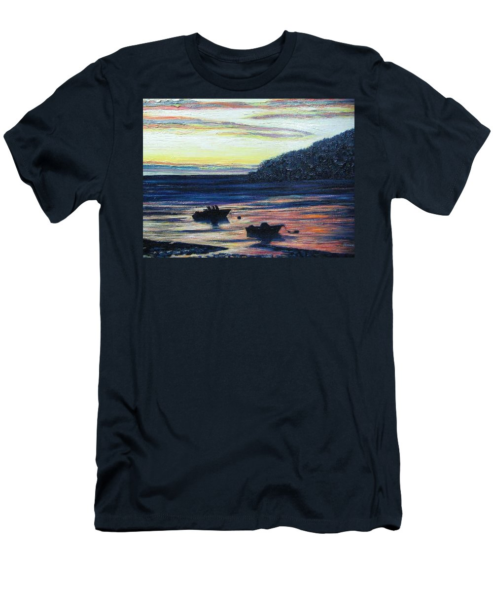 Maine Men's T-Shirt (Athletic Fit) featuring the painting Sunset On Maine Coast by Richard Nowak