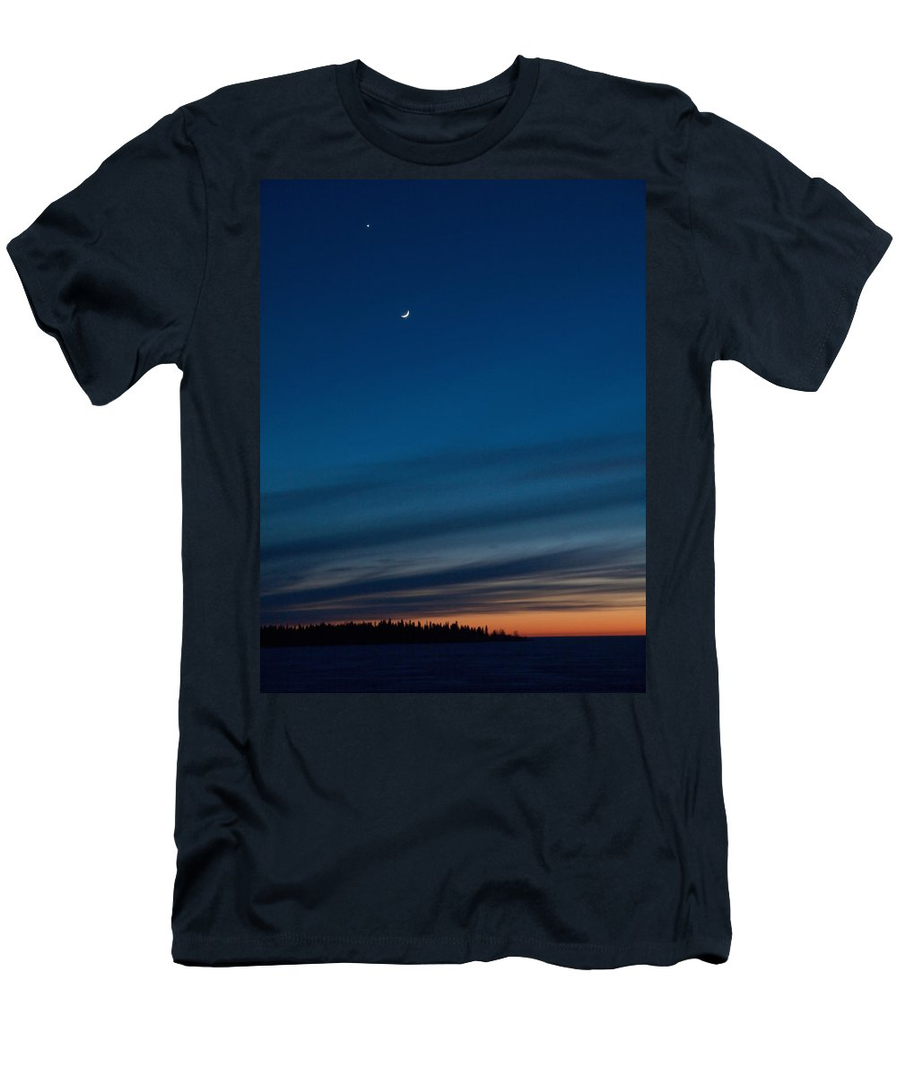 Talvi Men's T-Shirt (Athletic Fit) featuring the photograph Sunset Over The Gulf Of Bothnia by Jouko Lehto