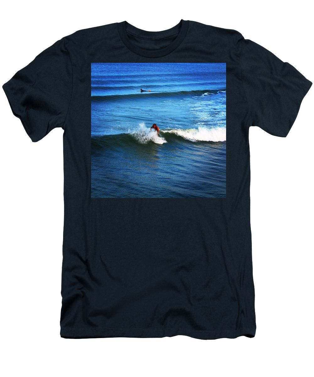 Water Men's T-Shirt (Athletic Fit) featuring the photograph Surfing Boy by J Celeste