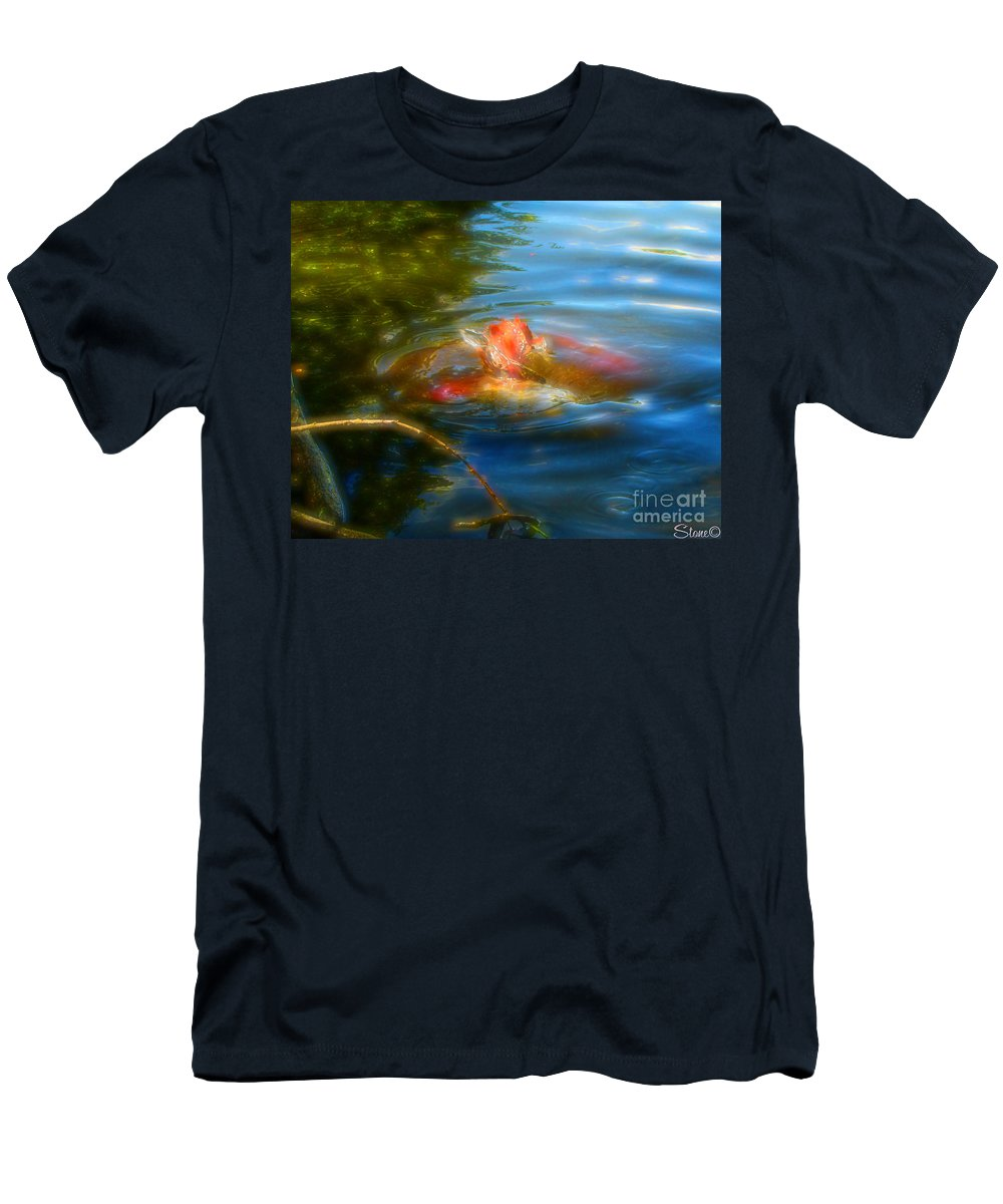 Koi Men's T-Shirt (Athletic Fit) featuring the photograph Tale Of The Wild Koi 2 by September Stone