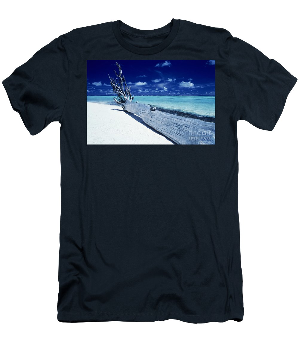 Ashore Men's T-Shirt (Athletic Fit) featuring the photograph Tetiaroa Driftwood by Larry Dale Gordon - Printscapes