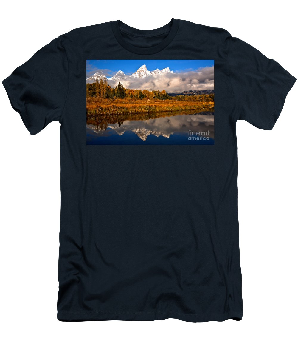 Gtnp Men's T-Shirt (Athletic Fit) featuring the photograph Teton Snow Cap Reflections by Adam Jewell