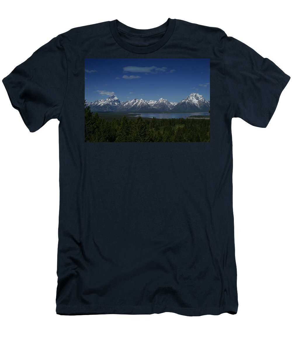 Mountains Men's T-Shirt (Athletic Fit) featuring the photograph Tetons In Blue by Shari Jardina
