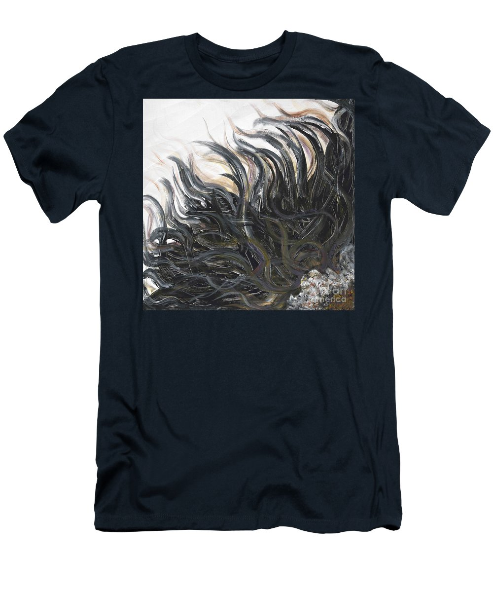 Texture Men's T-Shirt (Athletic Fit) featuring the painting Textured Black Sunflower by Nadine Rippelmeyer
