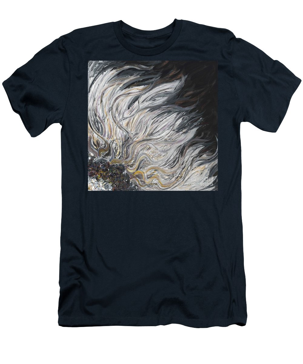 White Men's T-Shirt (Athletic Fit) featuring the painting Textured White Sunflower by Nadine Rippelmeyer