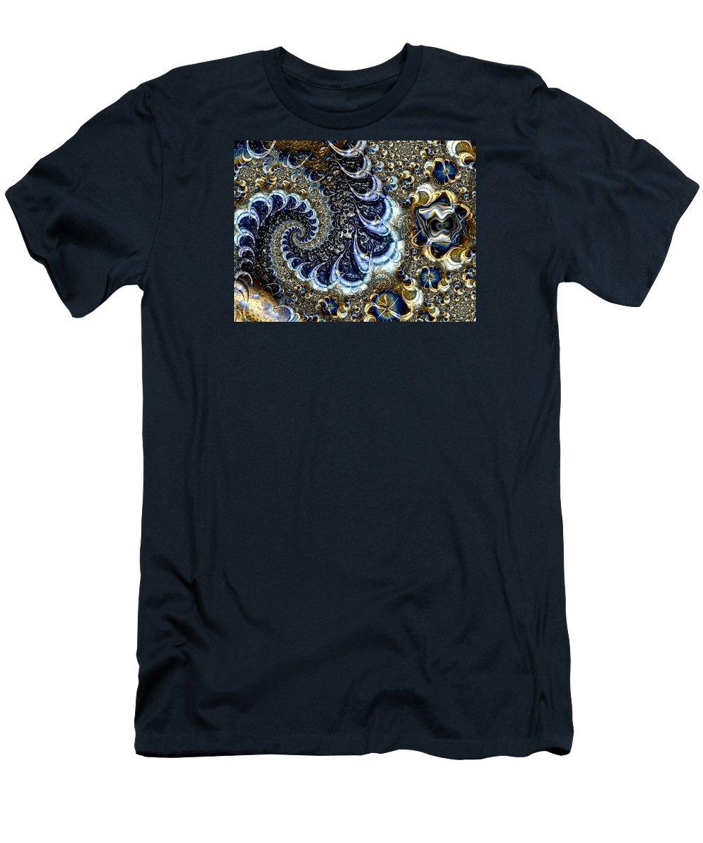 Fractal Diamonds Blue Jewel Dance River Men's T-Shirt (Athletic Fit) featuring the digital art The Blue Diamonds by Veronica Jackson