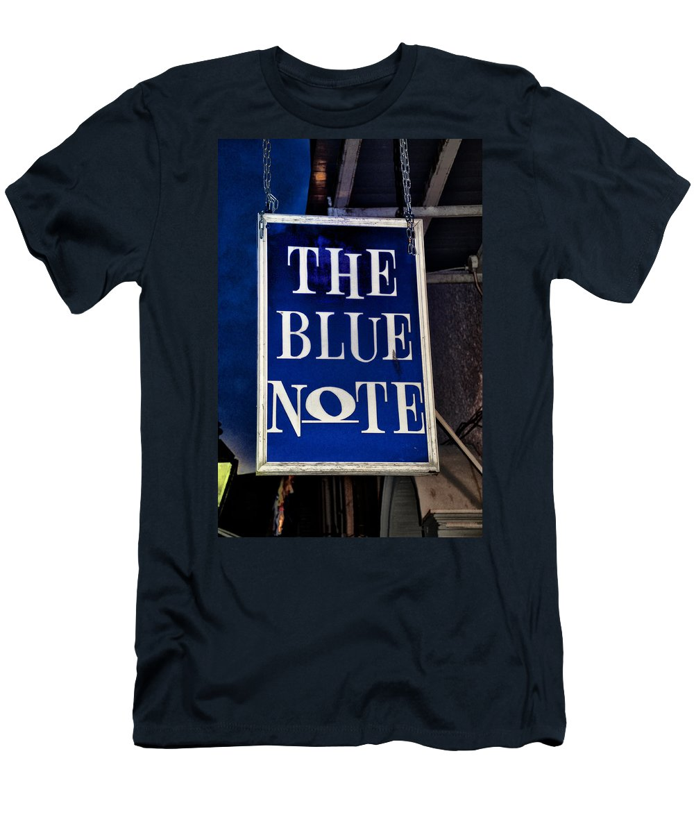 The Blue Note - Bourbon Street Men's T-Shirt (Athletic Fit) featuring the photograph The Blue Note - Bourbon Street by Bill Cannon