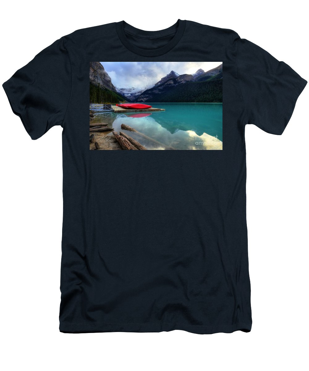 #photogtipsandtricks Men's T-Shirt (Athletic Fit) featuring the photograph The Breathtakingly Beautiful Lake Louise Iv by Wayne Moran