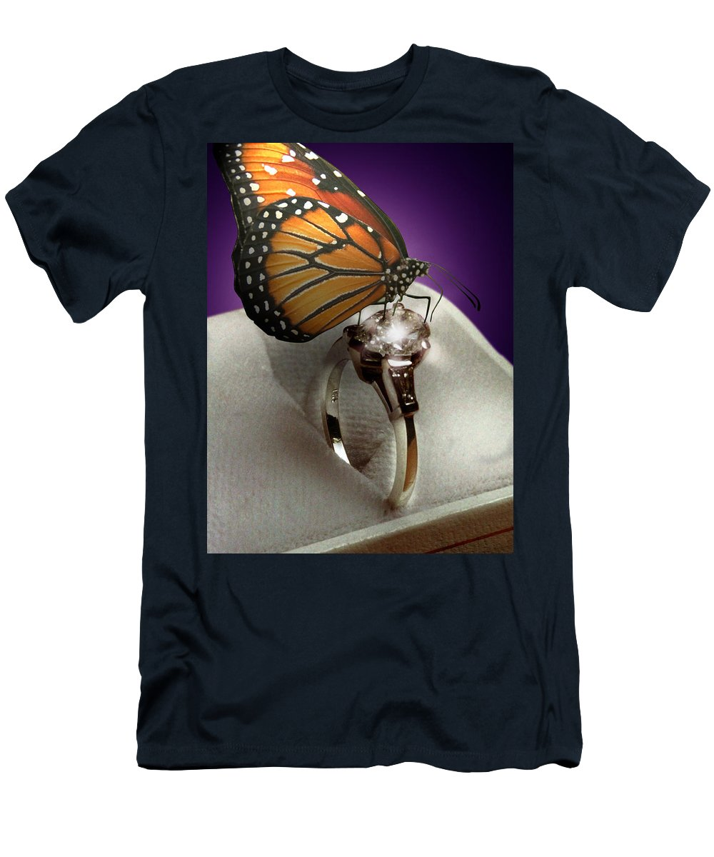 Fantasy Men's T-Shirt (Athletic Fit) featuring the photograph The Butterfly And The Engagement Ring by Yuri Lev