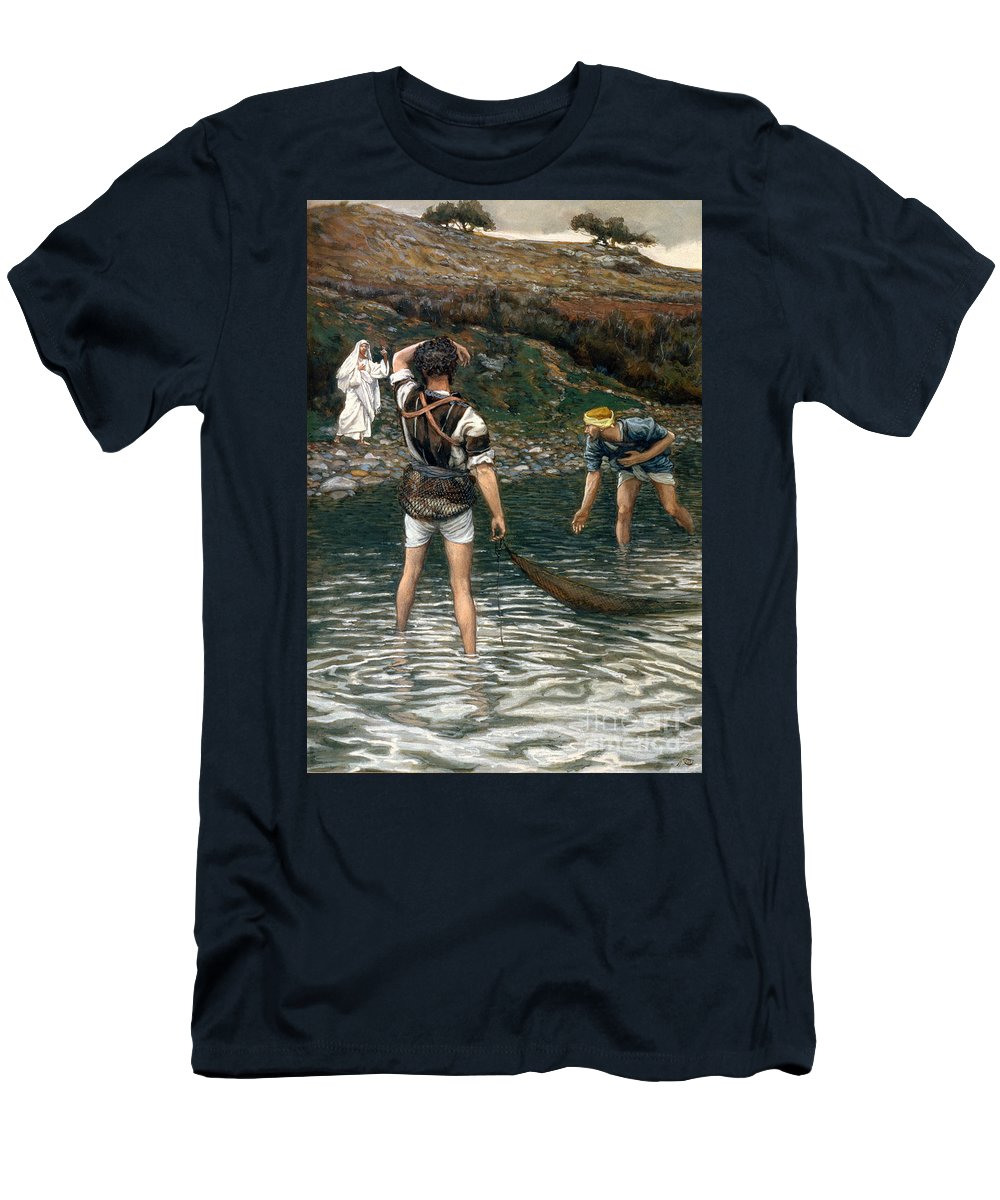 Jesus Men's T-Shirt (Athletic Fit) featuring the painting The Calling Of Saint Peter And Saint Andrew by Tissot