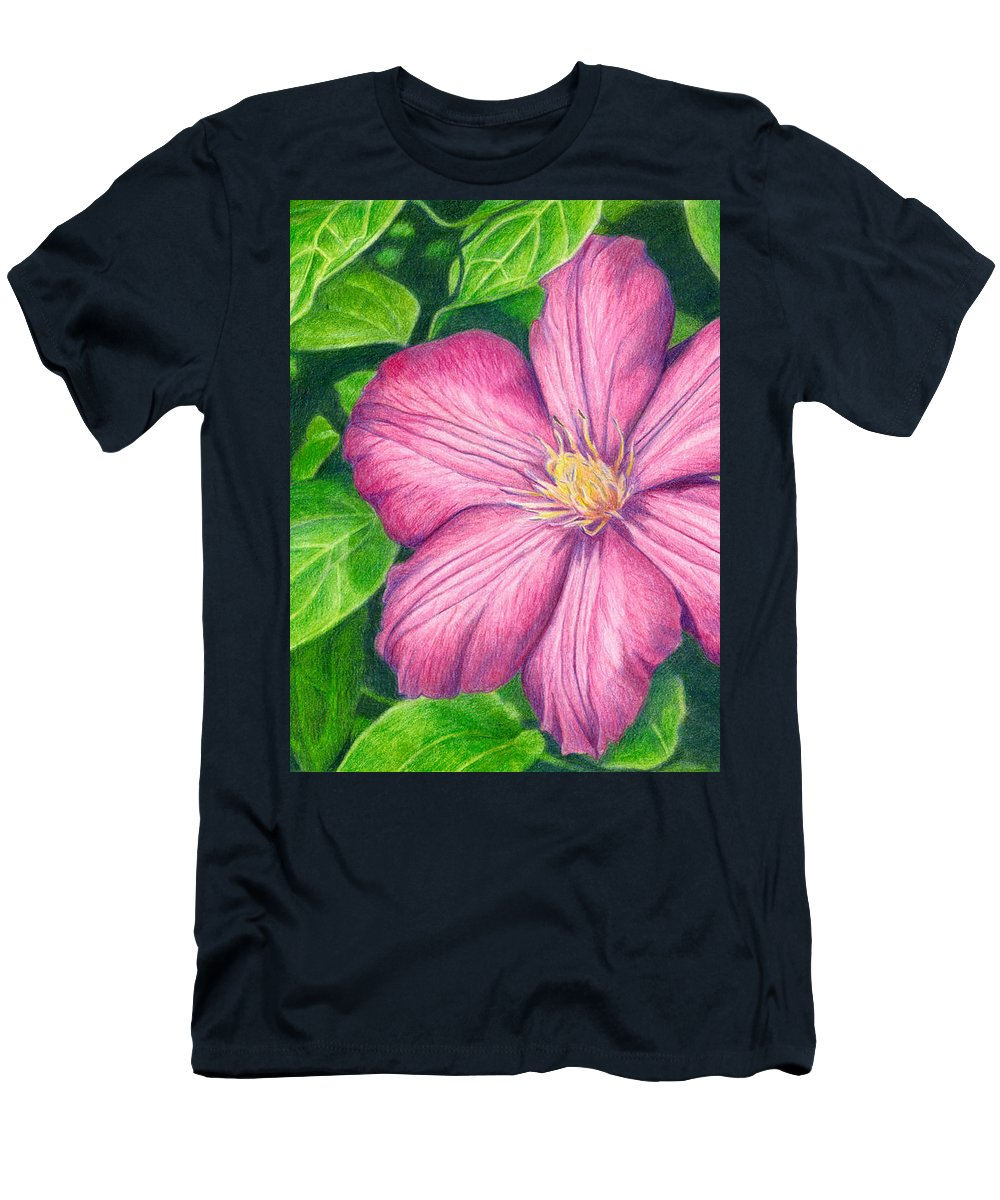 Flower Men's T-Shirt (Athletic Fit) featuring the drawing The Clematis Flower by Kat Skinner