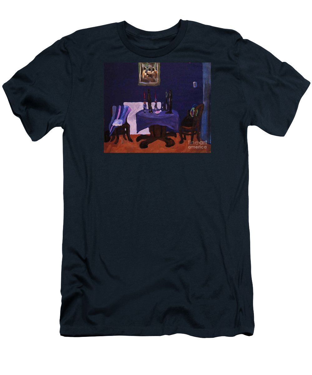 Talbe Chairs Dining Room Candles Blue Painting Men's T-Shirt (Athletic Fit) featuring the painting The Dining Room by Reb Frost