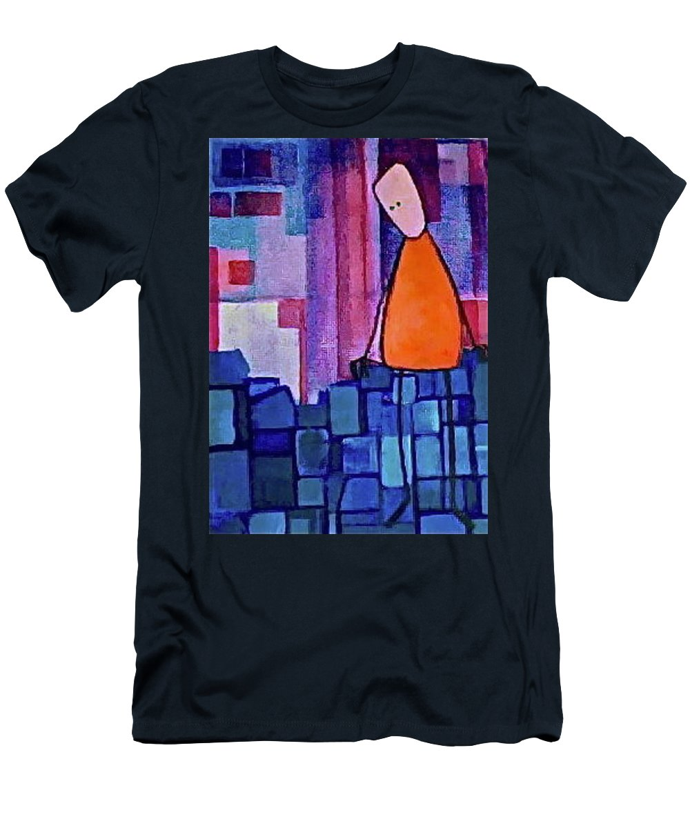 Somber Men's T-Shirt (Athletic Fit) featuring the painting The Edge by Donna Howard