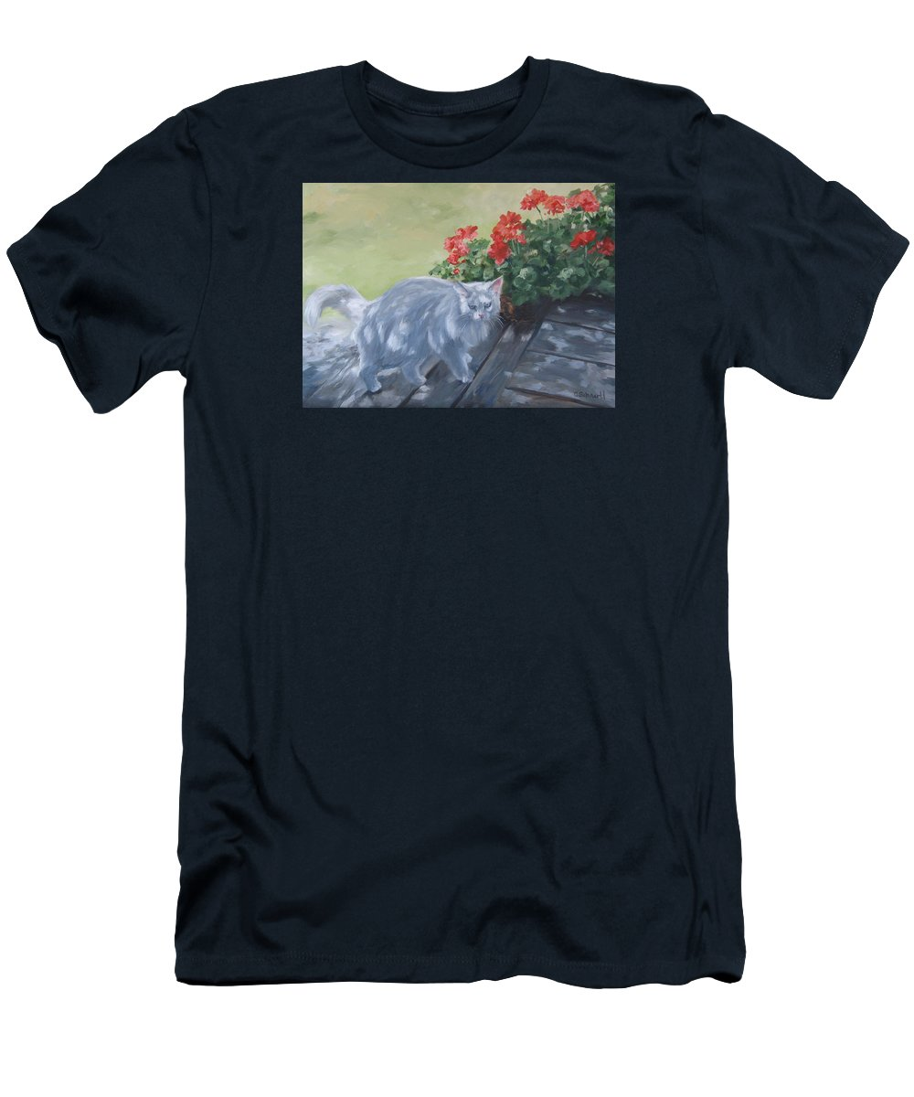 Cat Men's T-Shirt (Athletic Fit) featuring the painting A Feral Cloud by Connie Schaertl