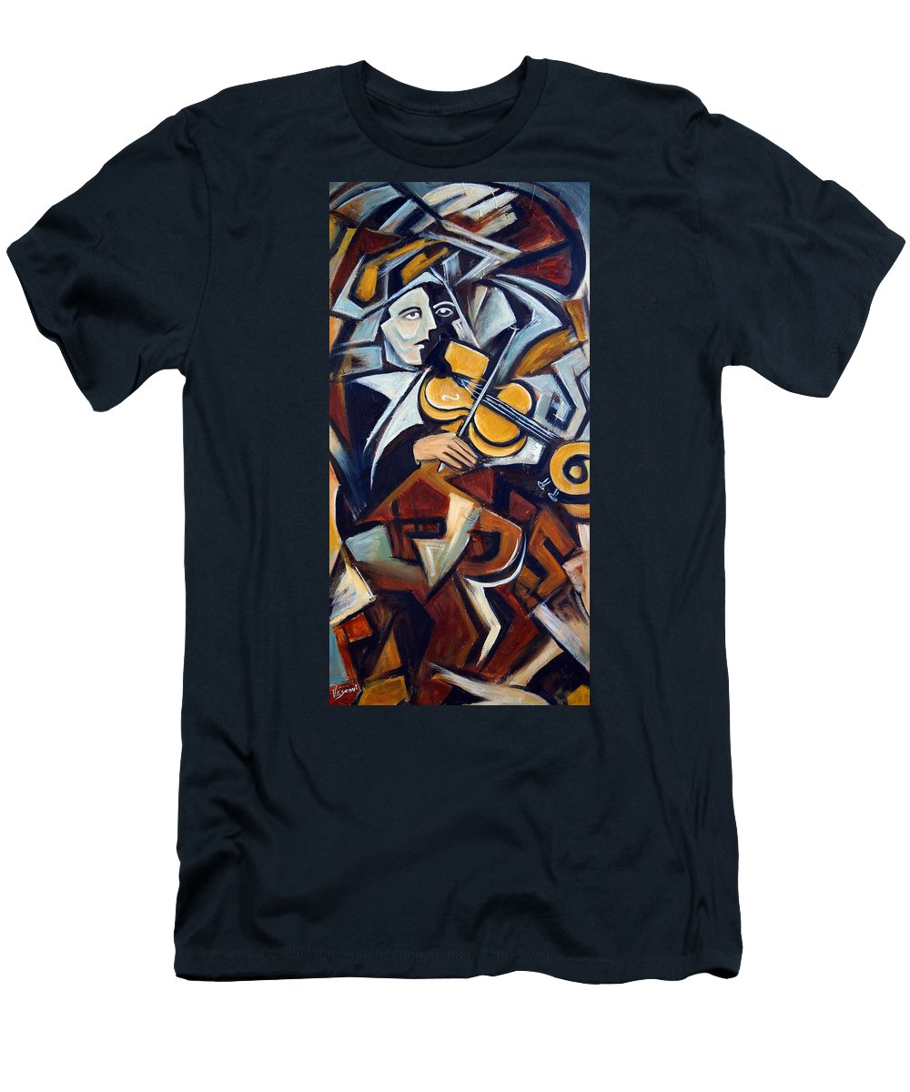 Musician Men's T-Shirt (Athletic Fit) featuring the painting The Fiddler by Valerie Vescovi