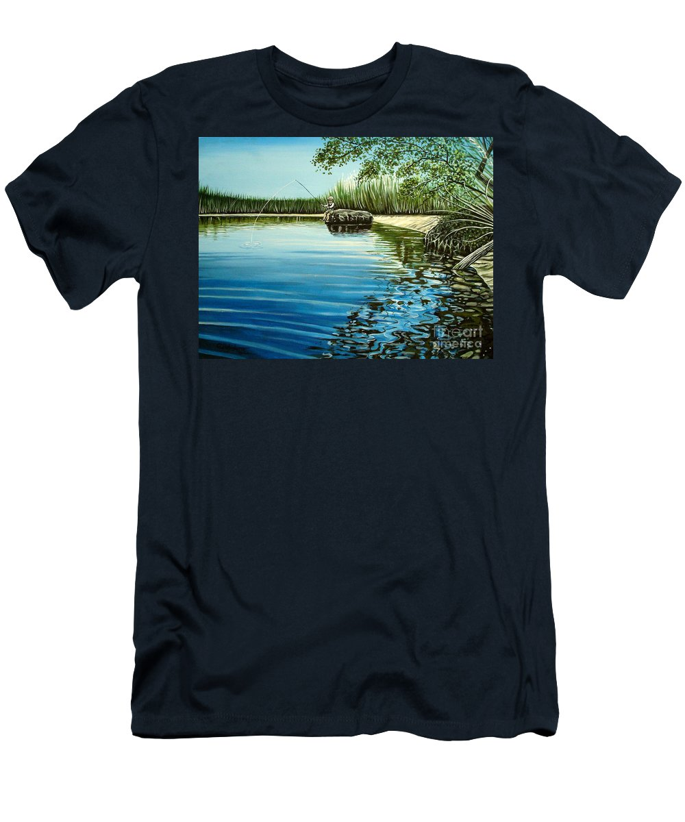 Landscape Men's T-Shirt (Athletic Fit) featuring the painting The Fisherman by Elizabeth Robinette Tyndall
