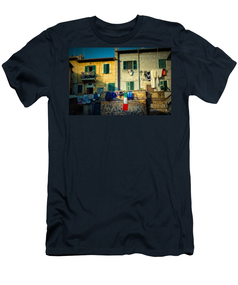 Flag Men's T-Shirt (Athletic Fit) featuring the photograph The Flag Needed Washing by Silvia Ganora