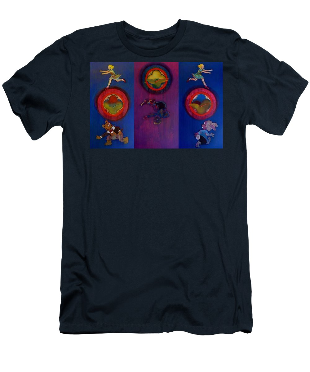 The Drums Of The Fruit Machine Stop At Random. Triptych T-Shirt featuring the painting The Fruit Machine Stops II by Charles Stuart