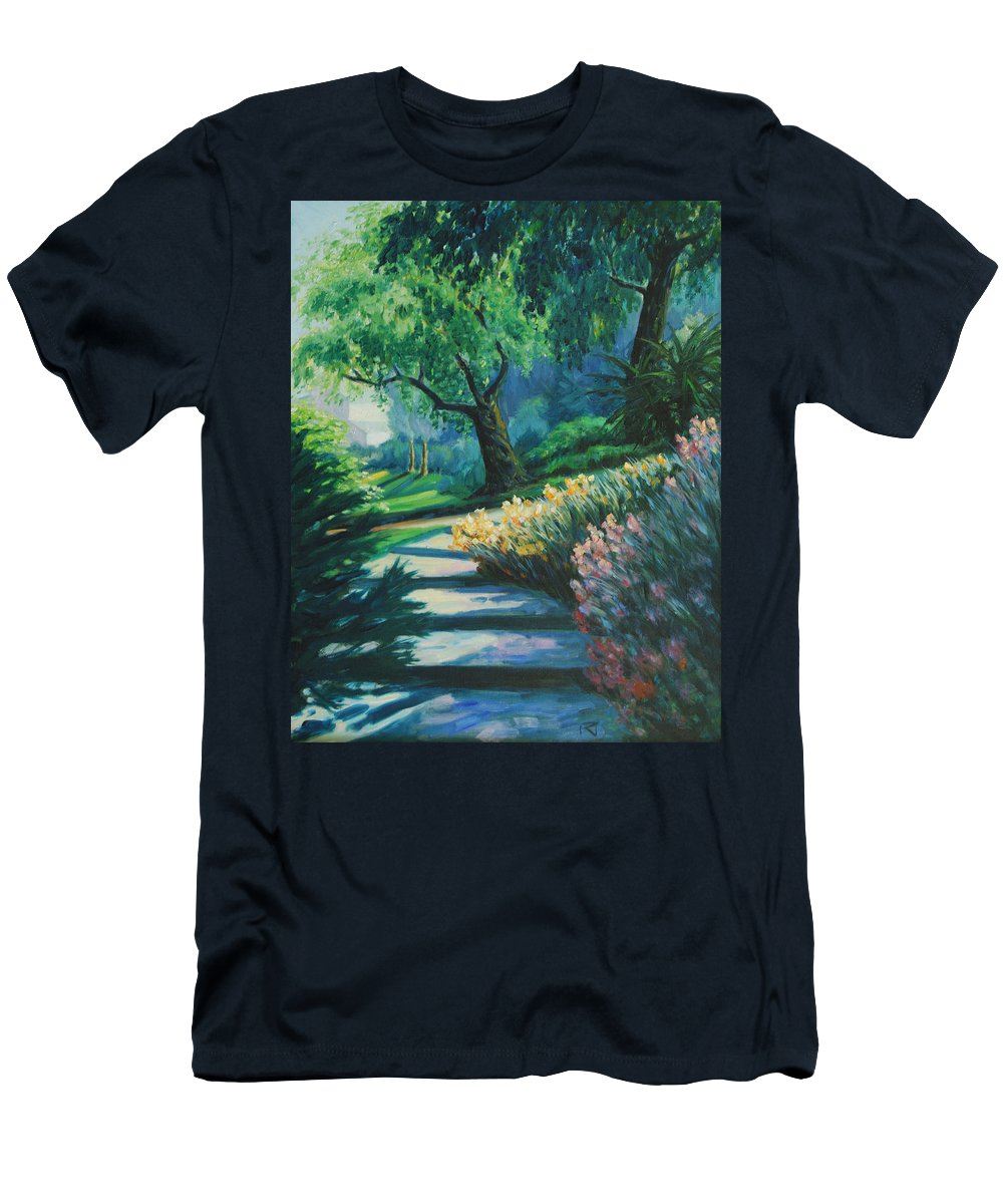 Trees Men's T-Shirt (Athletic Fit) featuring the painting The Garden by Rick Nederlof