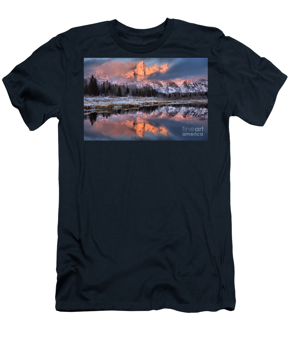 Teton Sunrise Men's T-Shirt (Athletic Fit) featuring the photograph The Grand Teton by Adam Jewell