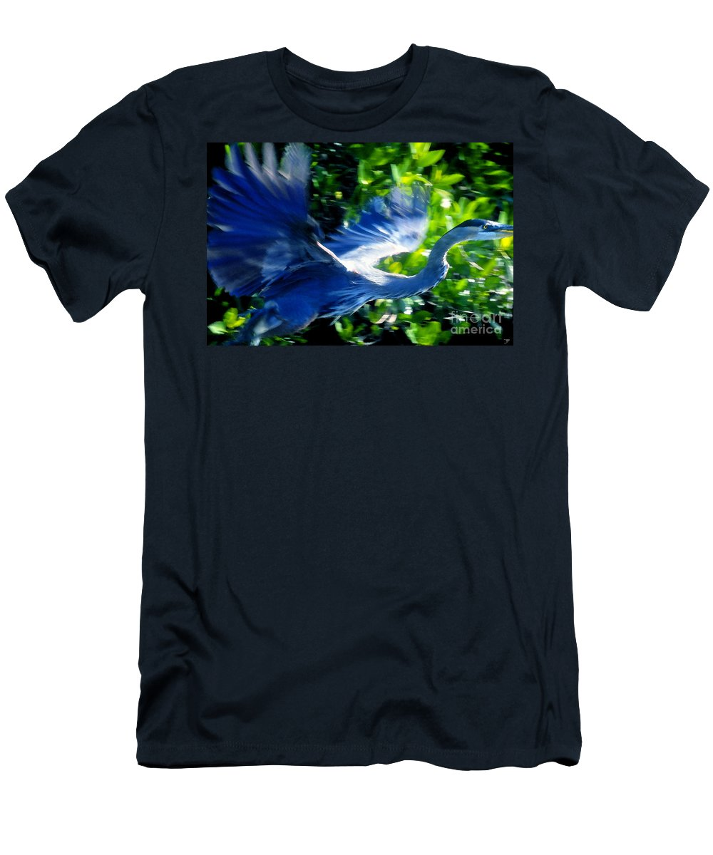Great Blue Heron Men's T-Shirt (Athletic Fit) featuring the painting The Great Blue by David Lee Thompson