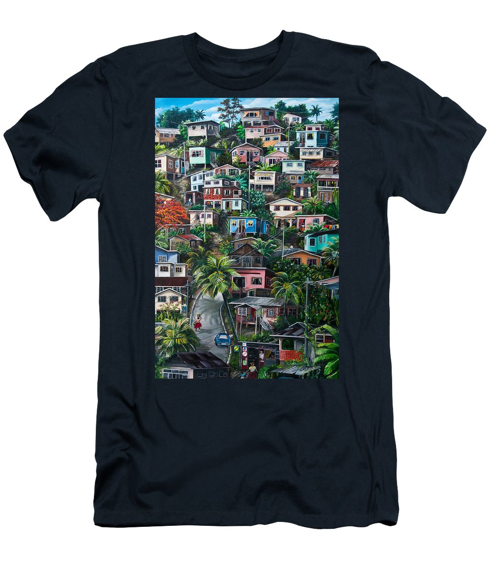 Landscape Painting Cityscape Painting Houses Painting Hill Painting Lavantille Port Of Spain Painting Trinidad And Tobago Painting Caribbean Painting Tropical Painting Caribbean Painting Original Painting Greeting Card Painting Men's T-Shirt (Athletic Fit) featuring the painting The Hill   Trinidad by Karin Dawn Kelshall- Best