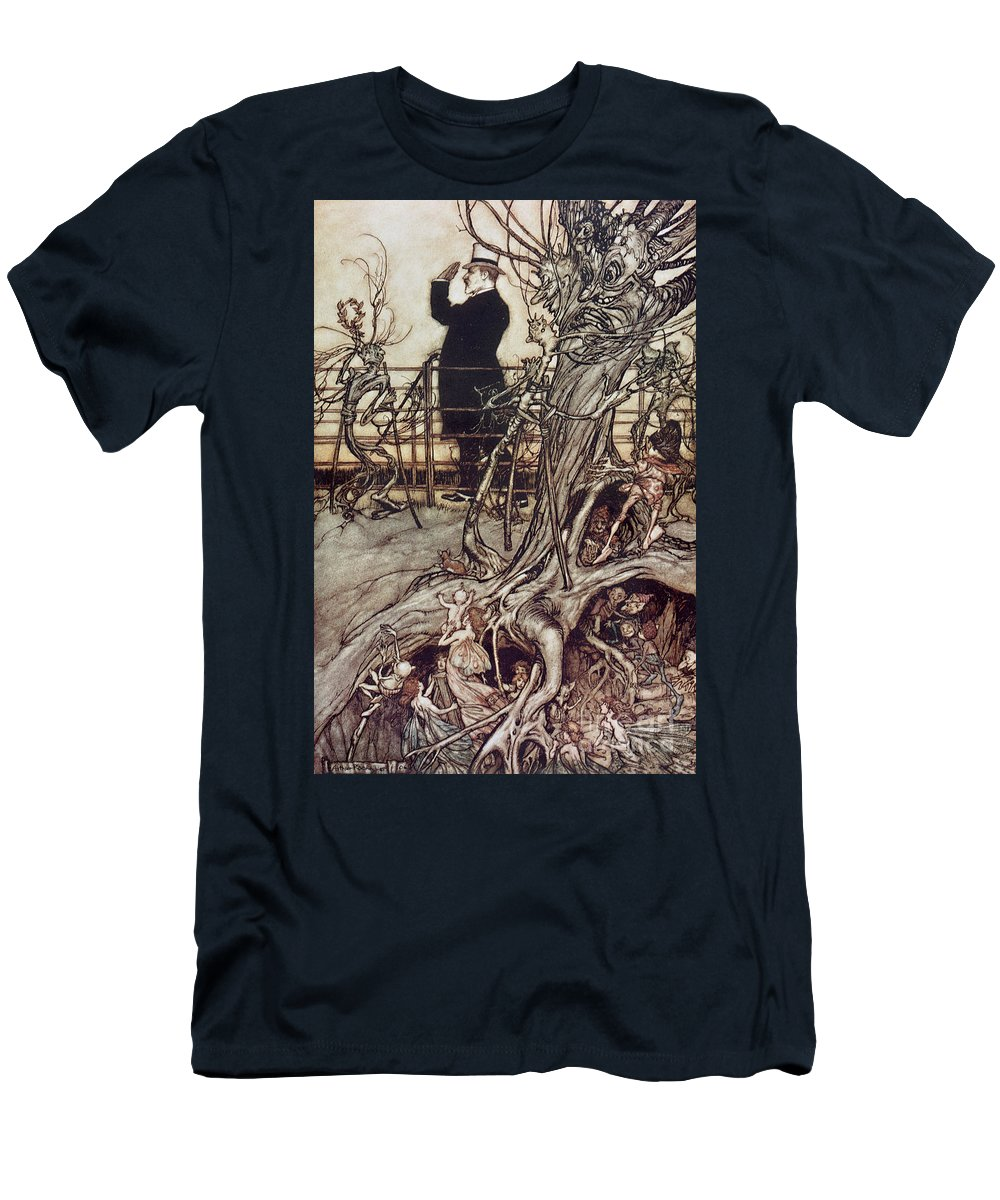 Arthur Rackham Men's T-Shirt (Athletic Fit) featuring the drawing The Kensington Gardens Are In London Where The King Lives by Arthur Rackham