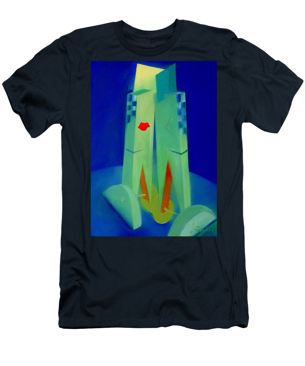 Blue T-Shirt featuring the painting The Kiss by Charles Stuart