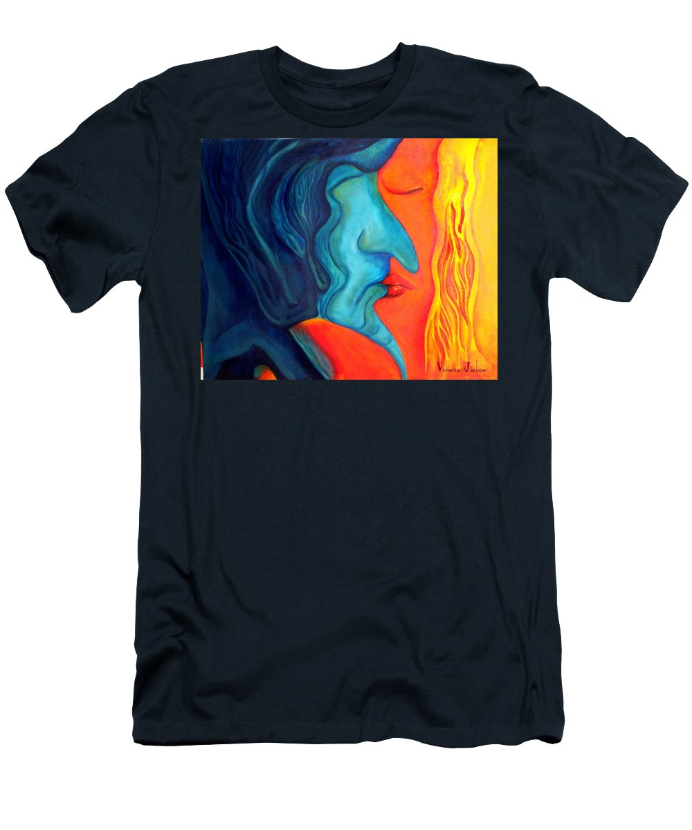 Kiss Love Passion Couple Intensity Blue Orange Fire Lust Sex Men's T-Shirt (Athletic Fit) featuring the painting The Kiss by Veronica Jackson