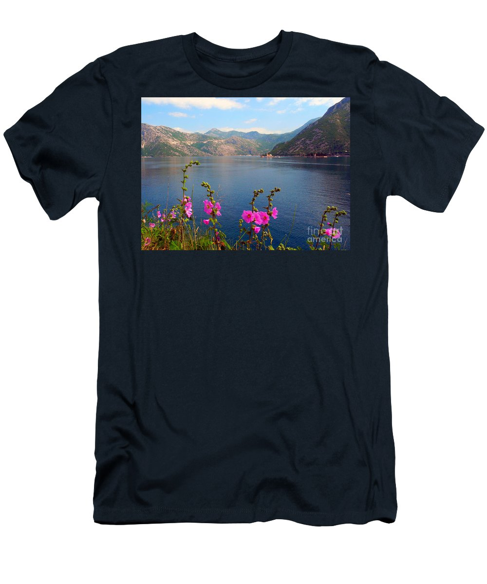 Landscape Men's T-Shirt (Athletic Fit) featuring the photograph The Landscape Of The Bay Of Kotor In Montenegro. by Tatyana Gundar