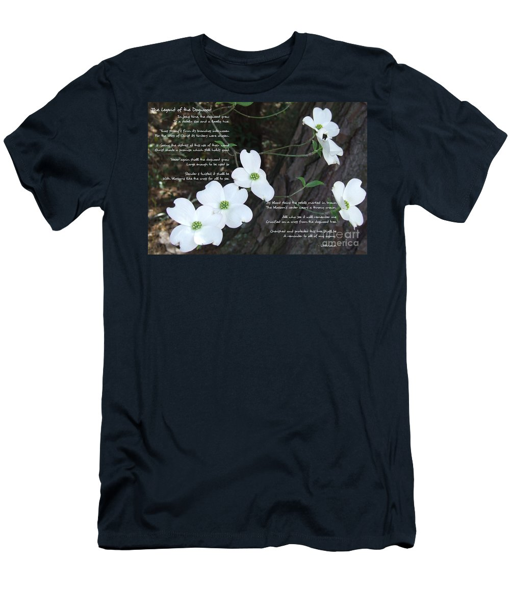 Dogwood Men's T-Shirt (Athletic Fit) featuring the photograph The Legend Of The Dogwood by Andrea Anderegg