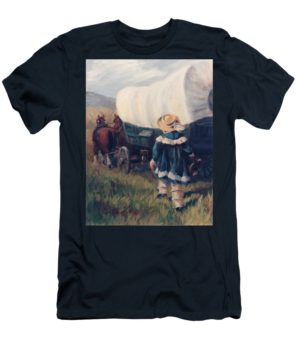 Pioneer Men's T-Shirt (Athletic Fit) featuring the painting The Little Pioneer Western Art by Kim Corpany