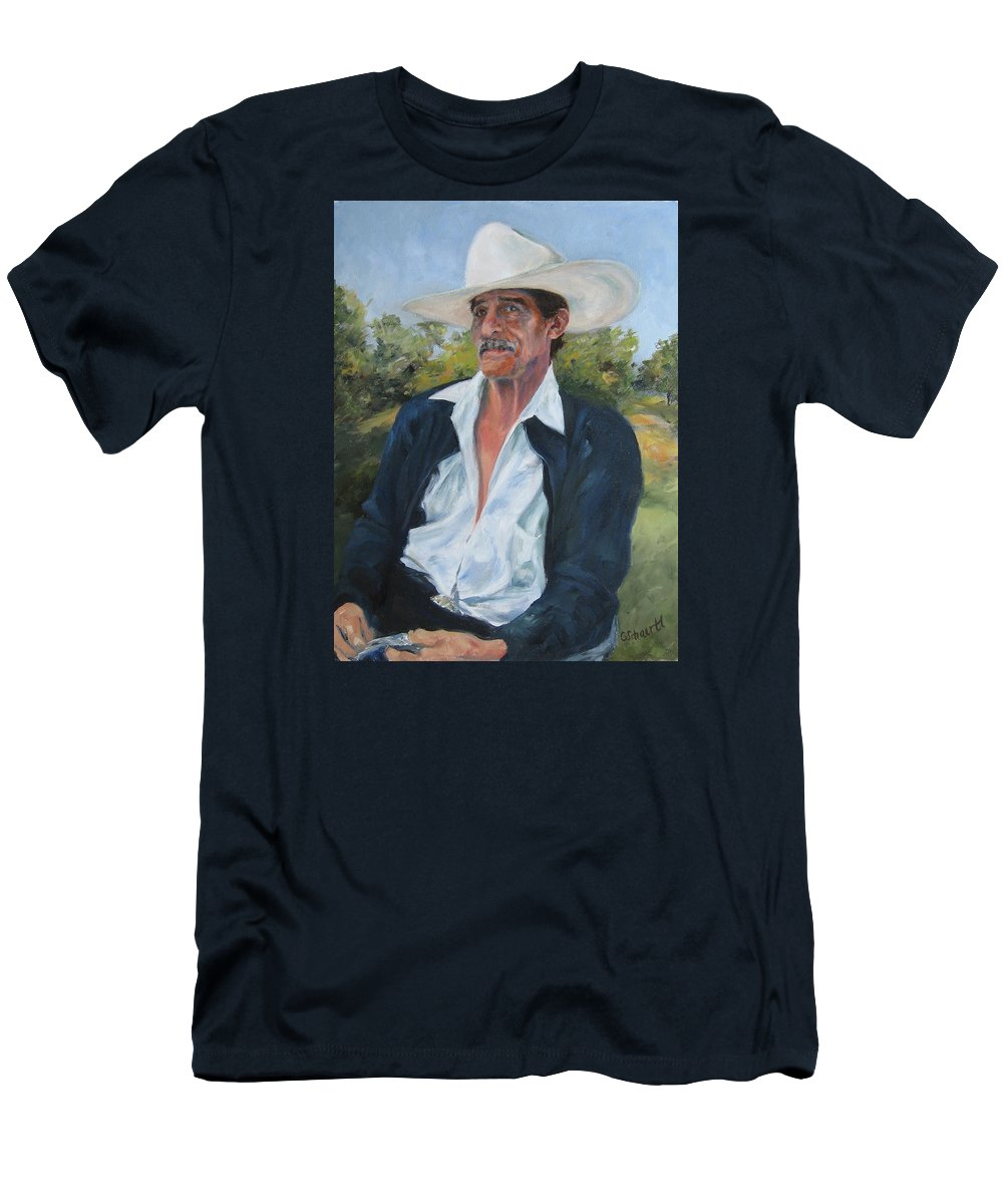 Portrait Men's T-Shirt (Athletic Fit) featuring the painting The Man From The Valley by Connie Schaertl
