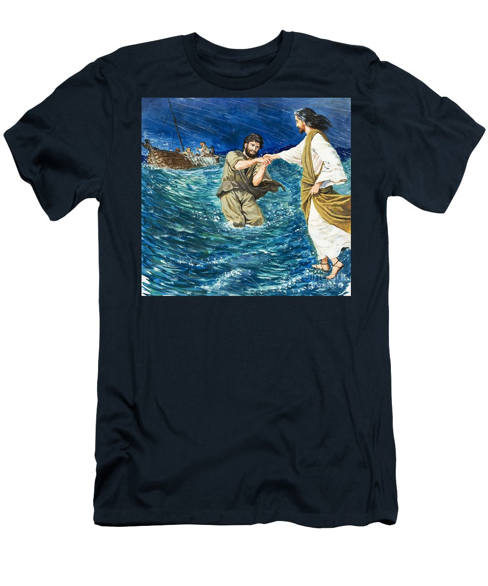 Jesus Christ; Miracle; Saint Peter; St; Lake; Fisherman; Fishing Boat; Storm; Wave; Sinking; Helping; Belief; Believing; Followers Men's T-Shirt (Athletic Fit) featuring the painting The Miracles Of Jesus Walking On Water by Clive Uptton