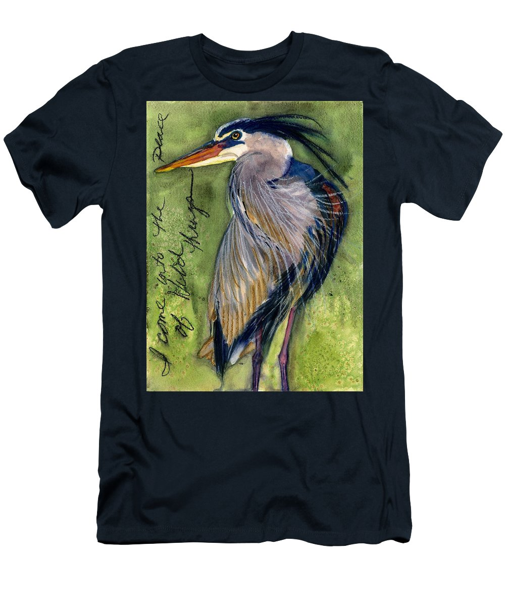 Heron Men's T-Shirt (Athletic Fit) featuring the painting The Peace Of Wild Things by Gina Rossi armfield