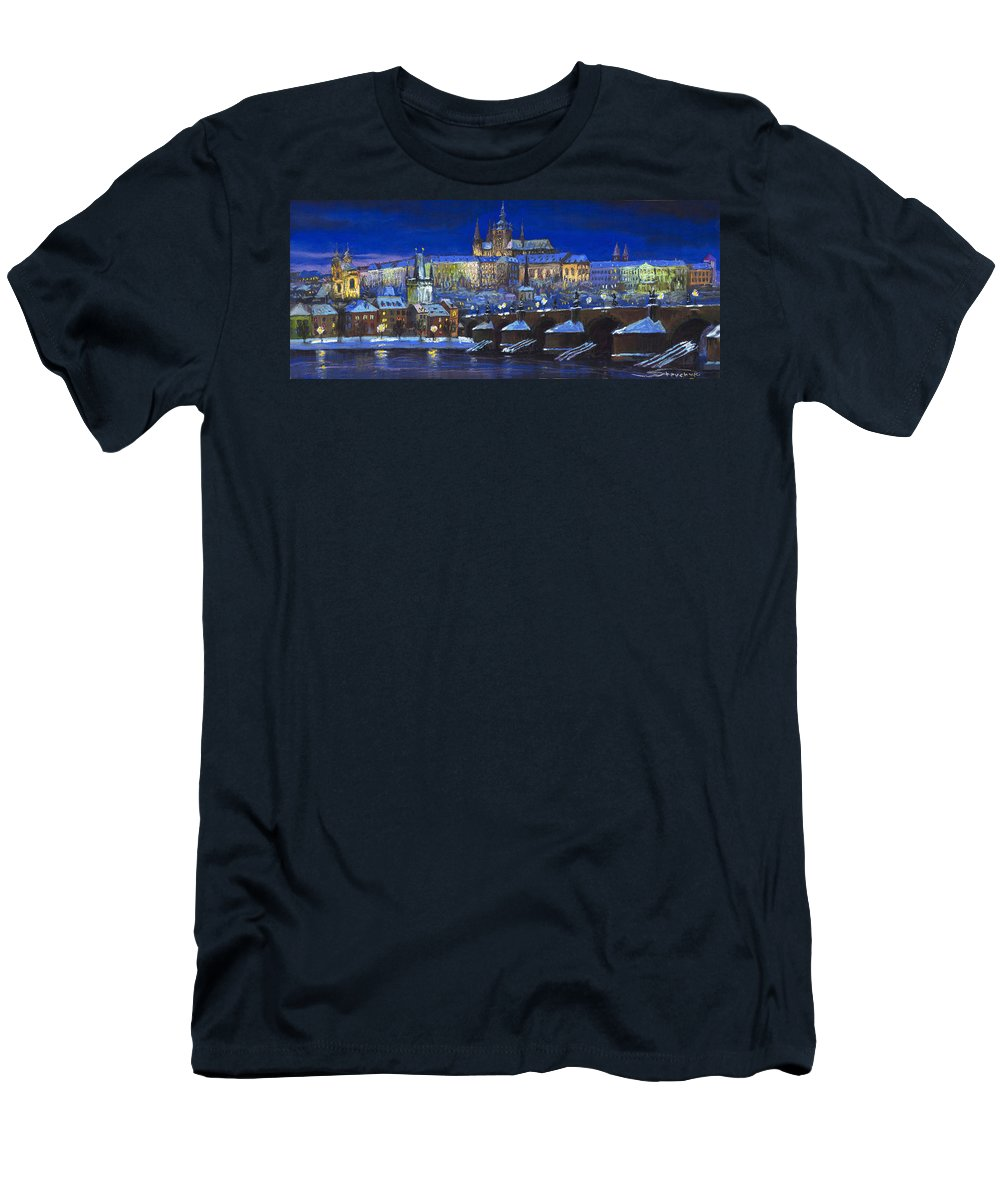 Prague Men's T-Shirt (Athletic Fit) featuring the painting The Prague Panorama by Yuriy Shevchuk