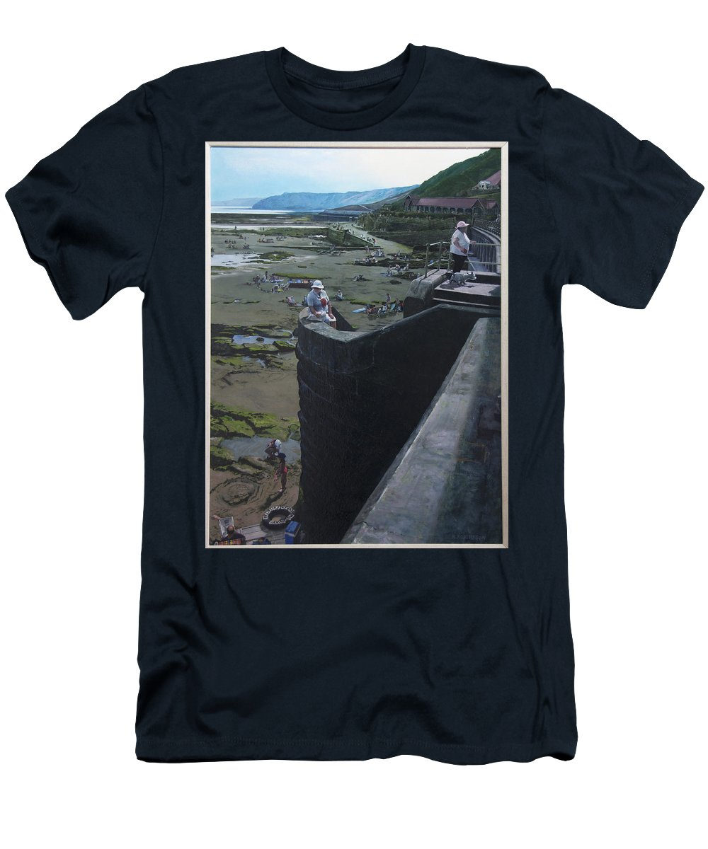 Britain Men's T-Shirt (Athletic Fit) featuring the painting The South Bay In Scarborough. by Harry Robertson