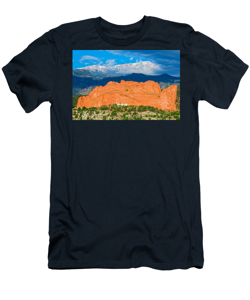 Garden Of The Gods City Park Men's T-Shirt (Athletic Fit) featuring the photograph The Summit In The Mist by Bijan Pirnia